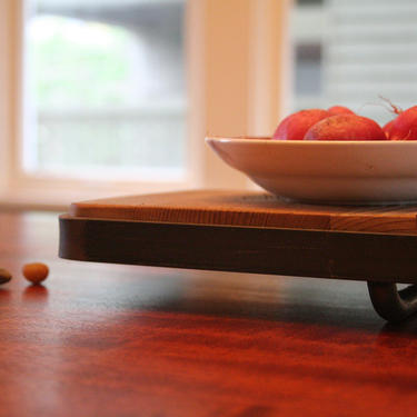 reclaimed wood serving tray with recycled steel - table centerpiece - holiday gift - modern industrial by birdloft