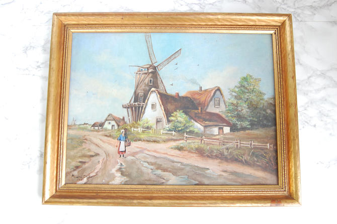 Dutch Countryside Painting Pastoral Vintage Original Art Signed Framed Oil Painting by PursuingVintage1