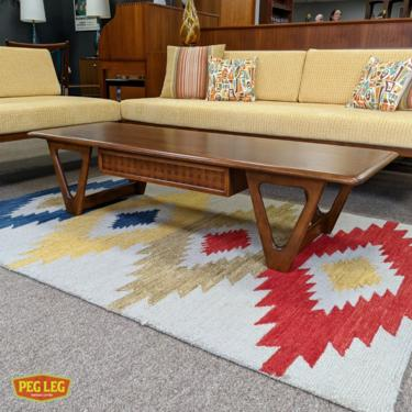 Mid-Century Modern walnut coffee table from the Perception collection by Warren Church for Lane