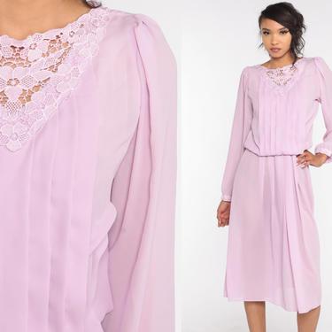 Lavender Pleated Dress 80s Midi Dress Purple Party Dress Boho PUFF SLEEVE Dress High Waist Secretary Long Sleeve Dress Vintage Medium by ShopExile