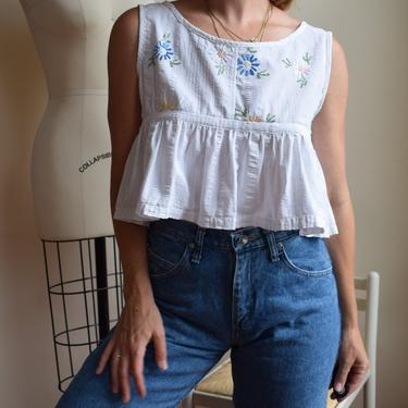 Reworked 1940s Fabric Blouse   Hand Embroidered and Hand Sewn   We, Mcgee Made-Ruffled Picnic Top   Embroidered Scattered Floral   S/M by wemcgee