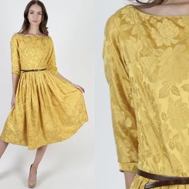 Vintage 50s Yellow Floral Dress / Silk Marigold Full Skirt Dress / 1950s Shiny Print Pin Up Dress / Pinup Cocktail Party Midi Dress by americanarchive