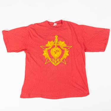 90s Russia Hammer & Sickle T Shirt - Large | Vintage Unisex Red Russian Coat of Arms Graphic Tourist Tee by FlyingAppleVintage