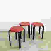 Set of 3 Vintage Red and Black Stacking Stools-Set