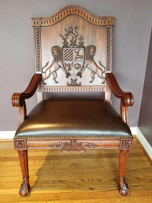 Designer Maitland Smith Hand Carved Crest Wood Chair with Leather Seat Brass Studs by PortlandRevibe