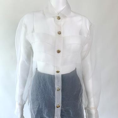 1990's Sheer White Organza Blouse