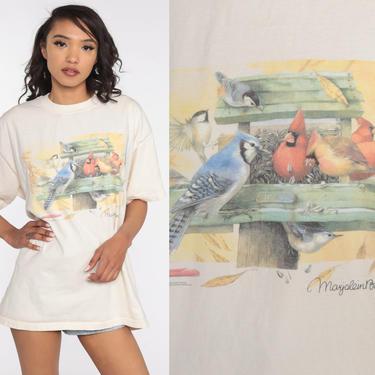 Bird Shirt 90s Cardinal TShirt Vintage Blue Jay Shirt Retro T Shirt Graphic Tee Wilderness Screen Print 1990s t shirt Extra Large xl xxl 2xl by ShopExile