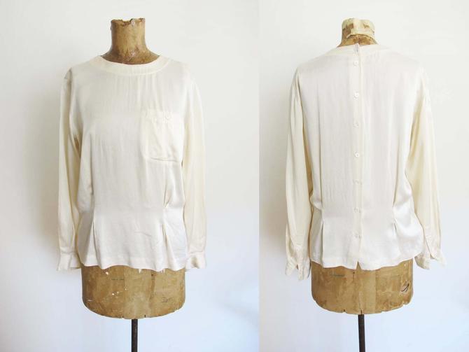 Vintage 90s Off White Silk Blouse S M - Button Back Blouse - Long Sleeve Liz Claiborne Minimalist Romantic Top by MILKTEETHS