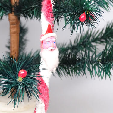 Vintage 1950's Santa Chenille Candy Cane Christmas Tree Ornament, Retro Hand Painted Clay Face by exploremag