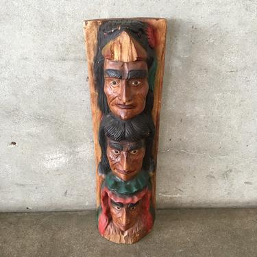 Carved Wood Indonesian Mask Totem Statue