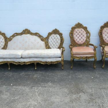 French Heavy Carved Painted Antique Gold Long Sofa Couch and Pair of Chairs 2455