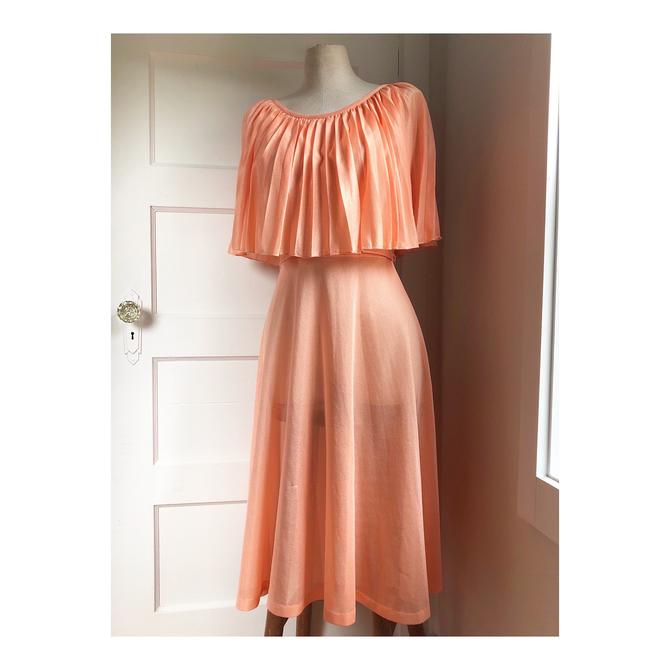 1970s Peachy Disco Dream Dress- size small by VeeVintageShop