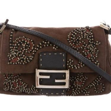 Vintage FENDI FF Monogram Beaded Embroidery Baguette Suede Leather Bag Shoulder Purse Clutch by MoonStoneVintageLA