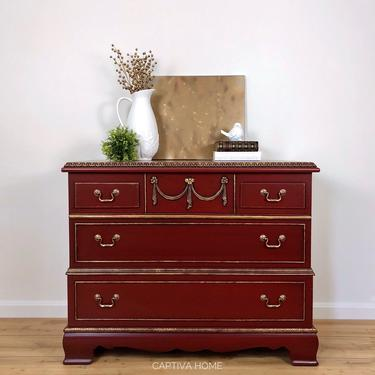 Tuscan Red Cedar Chest w/ Storage Drawer- Hope Chest- Red Painted Furniture- Gold Accents- Unique Design - Living Room Bedroom Organize by CaptivaHomeDecor