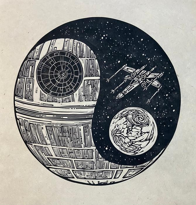Death Star Yin Yang Block Print by WoodcutEmporium