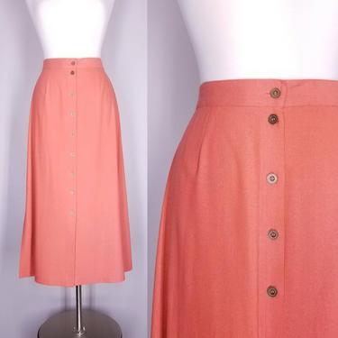 Vintage 90s Button Skirt, Medium / 1990s Silk Chambray Skirt / Soft Elastic Waist Day Skirt / Casual Summer Skirt / Midi Length Market Skirt by SoughtClothier