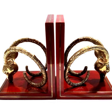 Vintage Ibex Brass Cherrywood Bookends by ModernPicks