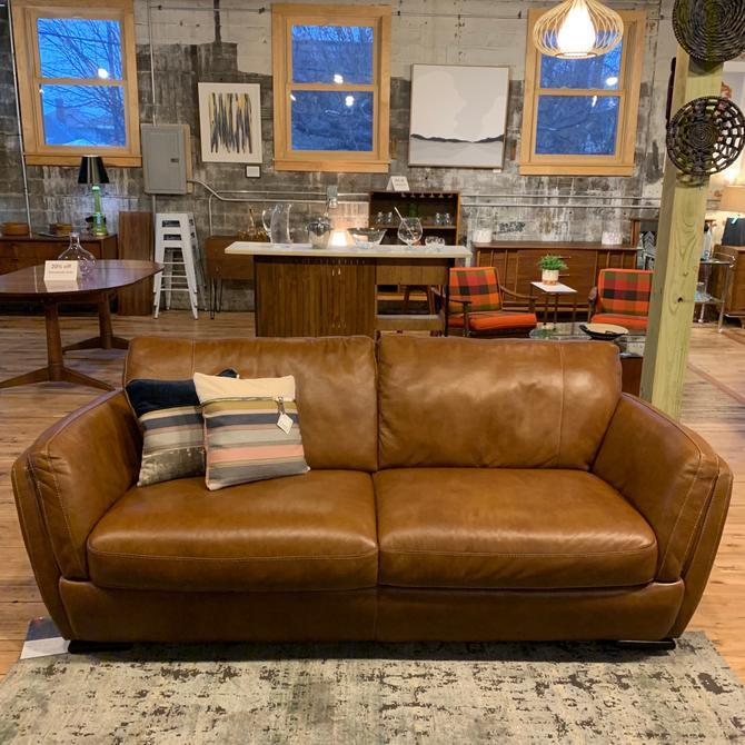 Leather Sofa & Ottoman by Natuzzi