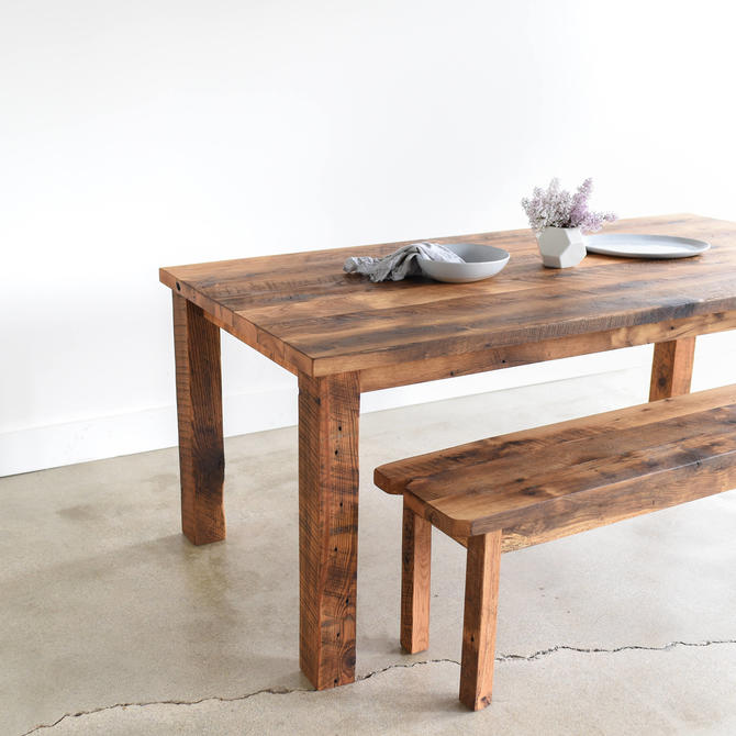 Farmhouse Kitchen Table / Reclaimed Wood Plank Dining Table by wwmake