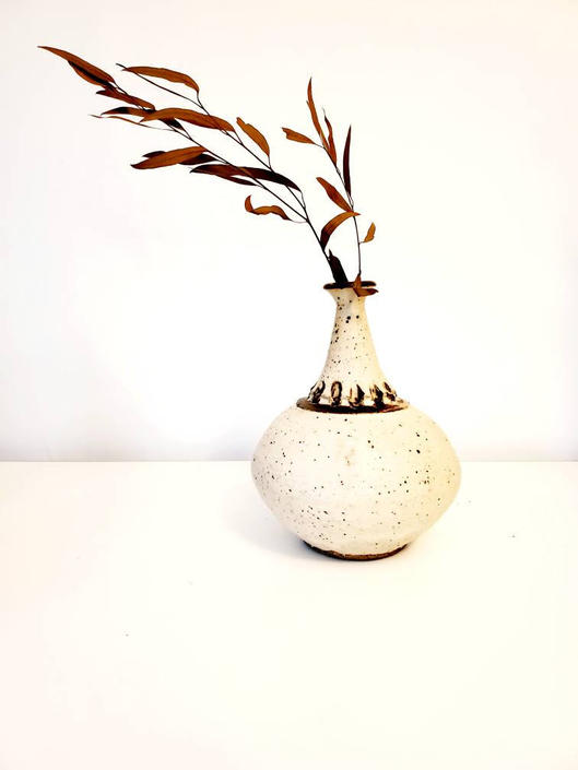 Mid Century Speckled Cream Studio Pottery Vase by pennyportland