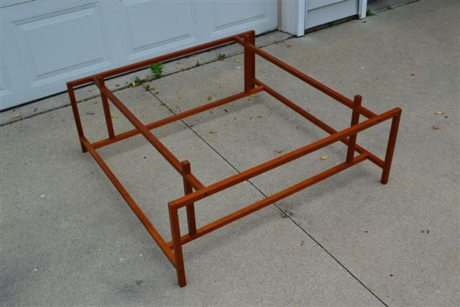 Mid Century Danish Modern Teak Coffee Table with Glass Top - mcm by ModernHill