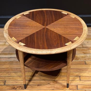 Restored Lane Acclaim Round Drum Table Side Table End Table - Mid Century Modern Danish Style Walnut Coffee Table by MidMod414
