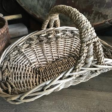 Rustic French Basket, Foraging, Picking, Mushrooms, Market Posy Basket, Flowers, Handwoven, Farmhouse Farm Table Decor by JansVintageStuff