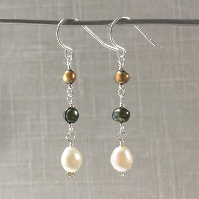 Tricolor Pearl Earrings by nonasuch