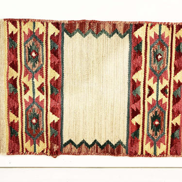Vintage Navajo Wool Table Runner Design Aztec Woven Rug Art Deco Starburst Red Blue White Dinner Table Retro Boho Style 1970s by CheckEngineVintage