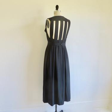 """Vintage 1980's 90's Black Rayon Midi Day Dress Caged Open Back Button Front Sleeveless Italian Made in Italy Carola Wiegman 33"""" Waist Medium by seekcollect"""
