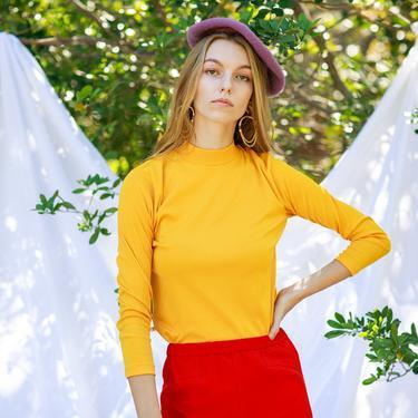 60s Sunshine Yellow Long Sleeve Sweater Vintage Turtleneck Knit Blouse by AppleBranchesVintage
