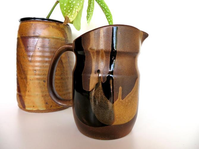 Vintage Pottery Craft USA Pitcher, Pottery Craft Stoneware Drip Glaze Water Jug by HerVintageCrush