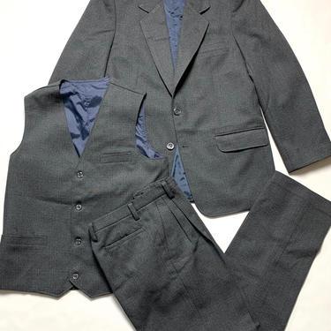 Vintage Wool Glen Plaid 3pc Suit ~ 34 S ~ vest / waistcoat ~ jacket / pants ~ Wedding ~ Boys / Kids / Women / Unisex by SparrowsAndWolves