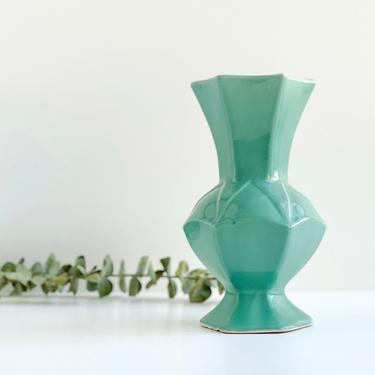 Vintage Pottery Vase, Dusty Jade Green Urn, Hexagon Shaped Vase by PebbleCreekGoods