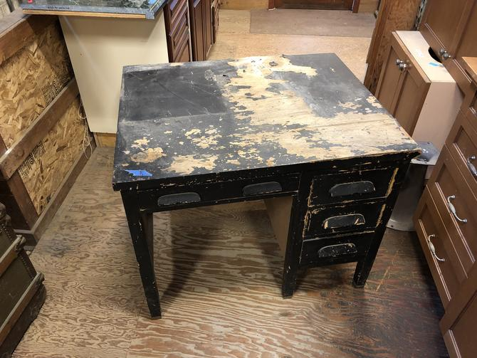 Black wooden 4 drawer desk