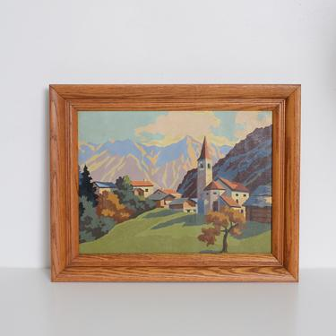 vintage paint by numbers mountain scene with frame by fingerlickingvintage
