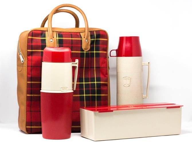 Vintage Thermos Picnic Set with Bag, Lunch Box, and Thermoses by GreenSpruceDesigns