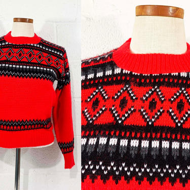 True Vintage Scandinavian 1960s Sweater Robert Bruce Paul Mage Pullover Black White Red Long Sleeve Knit Twin Peaks Boho Small Medium XS by CheckEngineVintage