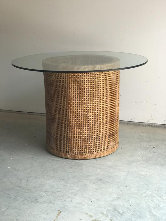 Vintage Double Woven Barell table base with glass top.
