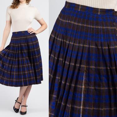 70s Jaeger Blue Plaid Wool Midi Skirt - Medium | Vintage Pleated High Waist Preppy Schoolgirl Skirt by FlyingAppleVintage