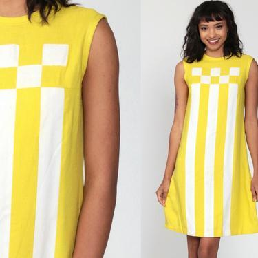 Mod Mini Dress Yellow Striped Dress 60s Space Age Dress Shift Dress 1960s Twiggy Stewardess Dress Vintage Scooter Sleeveless Small by ShopExile