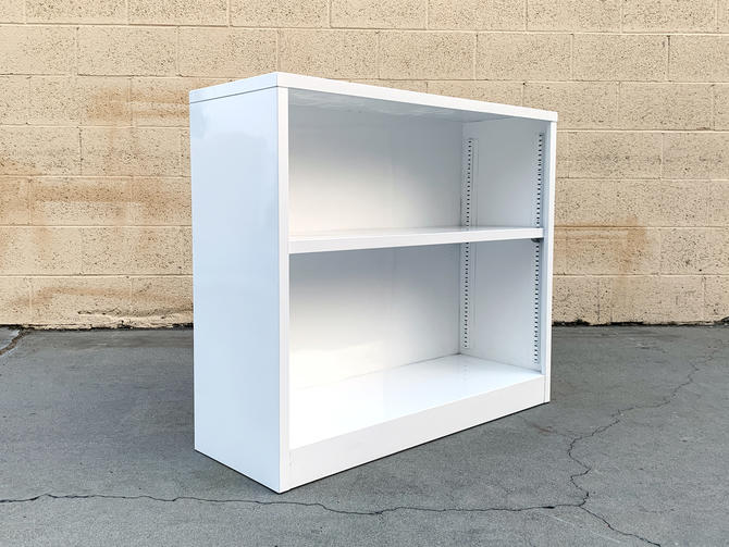 Mid Century Tanker Home-Office Bookcase in Gloss White, Custom Refinished