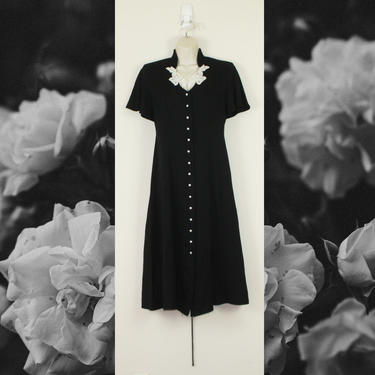 Vintage 90 Black & White Floral Dress, Size Large by GuavaNectarVintage