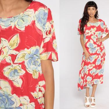 Red Floral Dress Midi Grunge Button Back Dress Boho 90s Bohemian Blouson Dress 1990s Short Sleeve Vintage Garden Party Medium by ShopExile