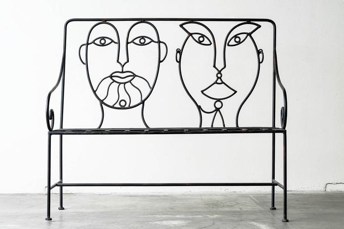 Postmodern John Risley Style Faceback Bench by formermodern