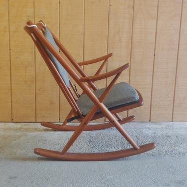 Danish Modern Frank Reenskaug for Bramin Rocking Chair w New and Original Cushions by ModandOzzie