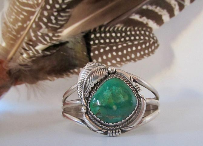 FINE FEATHER Vintage 70s Silver & Green Royston Turquoise Cuff   1970s Navajo Native American Style Bracelet 46g  Boho, Southwestern Jewelry by lovestreetsf