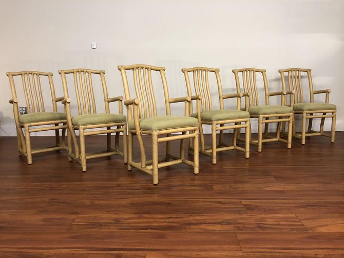 McGuire Rattan Host Arm Chairs - Set of 6 by Vintagefurnitureetc