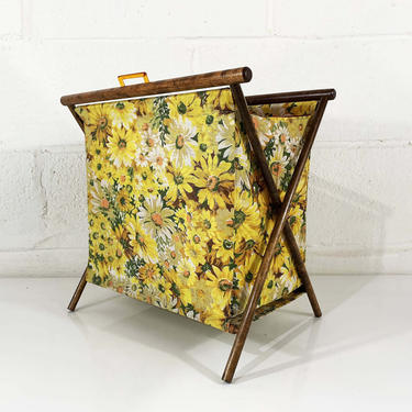 Vintage Knitting Basket Sewing Bag 1950s 1960s Fabric Crocheting Rack Magazine Kit Box Daisy Floral Yellow Folding MCM Mid-Century Modern by CheckEngineVintage