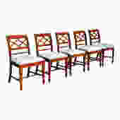 Vintage Set 5 Federal Style Dining Chairs